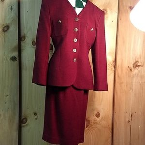 Saville Tweed Suit Jacket & Skirt Maroon Size 6